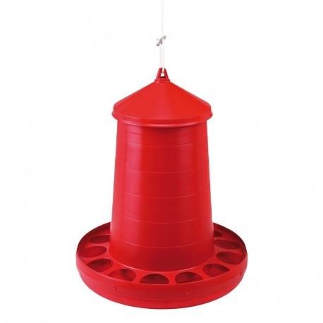 Tolva de Plàstic per Aus  - Color Vermell - Capacitats de 2, 4, 8, 12, 16Kg